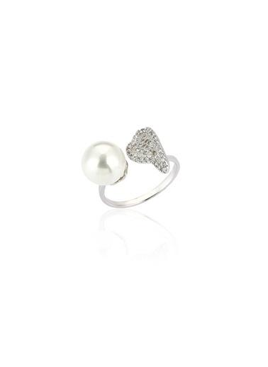 Tophills Diamond Co. 0,25 Ct Pırlanta Efekt  Altın  Angel Pearl Yüzük Renkli